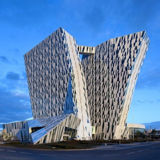 "A work of the Danish architectural company 3xN, ""Bella Sky Hotel"" has become a landmark in Copenhagen, Denmark"