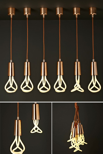 Drop Cap Pendant Copper with Plumen lightbulb by Hulger